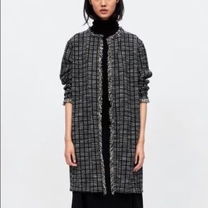 Zara Basic Size M Tweed Long Cardigan Duster Coat
